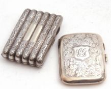 Mixed Lot: George V silver cigarette case of shaped rectangular form with central monogram and