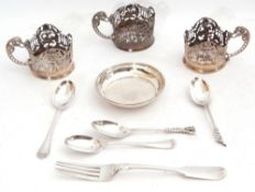 Mixed Lot: three silver coffee can holders, pierced with rails and flowers, with floral handles,