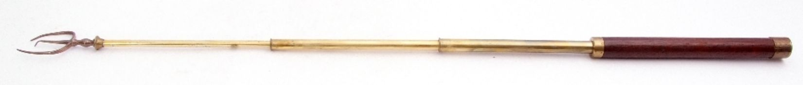 George III silver extending toasting fork, the three pronged fork applied to a brass and treen