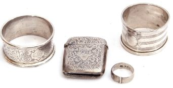Mixed Lot: Edward VII silver vesta of typical form, the centre with engraved cartouche within a