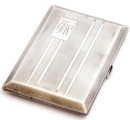 George V silver cigarette case of rectangular form, engine turned decorated with engraved monogram