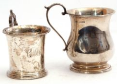 Mixed Lot: George VI silver small tankard, baluster form, scroll capped handle standing on a