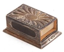 Late Victorian silver matchbox holder of rectangular form, the top embossed with a fluted design,