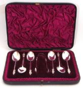 Cased Victorian set of six Apostle tea spoons and matching tongs, London 1888, maker's mark