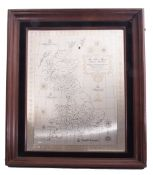 """""""The silver map of Great Britain"""", solid hallmarked Danbury Mint limited edition 3000 with"""