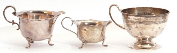 Mixed Lot: circular pedestal cup or sugar bowl with reeded body band and looped handle, Birmingham