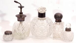 Mixed Lot: cut glass and sterling mounted scent atomiser, 16cm tall, together with four various