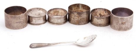 Mixed Lot: pair of silver napkin rings of plain polished design, London, 1944, together with four
