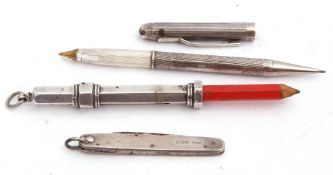 Mixed Lot: Unusual hallmarked silver pen and pencil combination, the engine turned barrel hallmarked