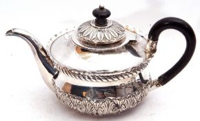 Victorian silver bachelor's style tea pot of compressed circular form with hinged lid and crimped