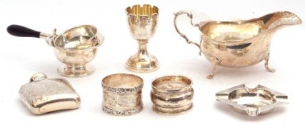 Mixed Lot: Edward VII silver sauce boat, Chester 1905, maker's marks for Stokes & Ireland Ltd; a
