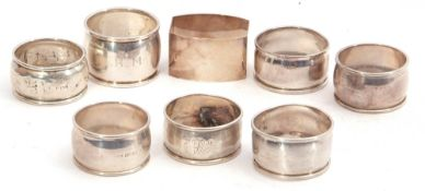 Mixed Lot: pair of silver napkin rings, Birmingham 1972, together with six further hallmarked silver