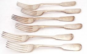 Matched set of six William IV/Victorian table forks in Fiddle pattern, each bearing a crest and a