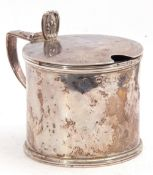 Georgian silver drum mustard pot, reeded detailing, the hinged lid with scroll thumb piece and