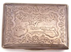 Silver snuff box, unmarked, probably English, circa 1720, of rectangular form, the cover chased with