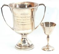 Mixed Lot: silver twin handled trophy with presentation engraving, London, 1952, maker's mark for