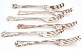 Set of six Victorian dessert forks in threaded Hanoverian pattern, each bearing a rampant lion