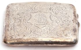 George V silver cigarette case of rectangular form, chased and engraved foliate detail with