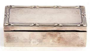 Antique hallmarked silver mounted ebony trinket box of plain polished rectangular form, the lid with