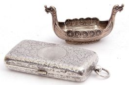Mixed Lot: Late Victorian silver double sovereign and stamp case, the rectangular chased and