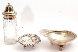 Mixed Lot: Victorian silver heart shaped dish, embossed and pierced with scrolls and bows etc,
