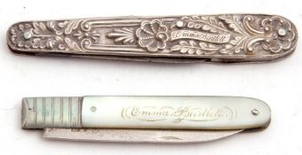 "Mixed Lot: Georgian silver fruit knife in original case, the mother of pearl handle engraved ""Emma"