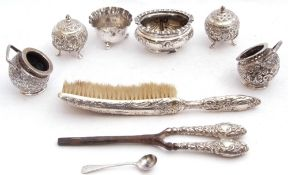 Mixed Lot: Birmingham silver open salt of oval form, tied ribbon design, marks rubbed, a Victorian
