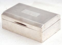 George VI silver table cigarette casket, engine turned decoration with a rectangular vacant