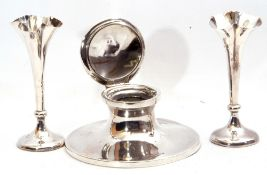 Mixed Lot: George V large capstan inkwell of typical form, the domed hinged lid with personalised