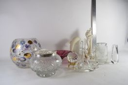 GLASS WARES INCLUDING A RED COLOURED ART GLASS DISH, POTTERY MODEL OF A DOLPHIN, GLASS FLOWER VASE