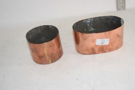 TWO COPPER CYLINDRICAL HOLDERS AND OVAL DISH