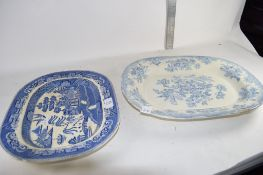 TWO BLUE AND WHITE MEAT DISHES WITH CHINOISERIE DESIGNS