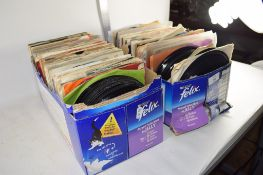 SMALL BOX CONTAINING 45RPM VINYL RECORDS, MAINLY MODERN, TOGETHER WITH A BOX OF RECORDS (2 BOXES)