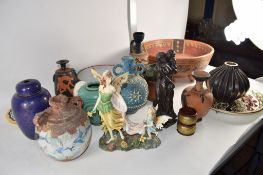 CERAMIC ITEMS INCLUDING A TERRACOTTA GREEK STYLE VASE, METAL CLOISONNE TYPE VASE AND COVER ETC