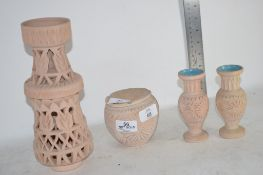 FOUR CERAMIC ITEMS INCLUDING PAIR OF VASES AND FURTHER BOWL AND ASHTRAY
