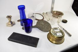 BRASS SHIPS CLOCK TOGETHER WITH AN ART NOUVEAU STYLE DRESSING TABLE MIRROR, VARIOUS BOTTLES WITH
