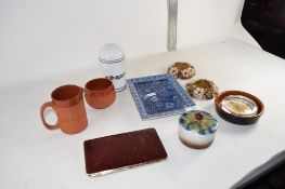 POTTERY INCLUDING TWO BROWN GLAZED PIECES TOGETHER WITH SMALL BLUE DISH ETC