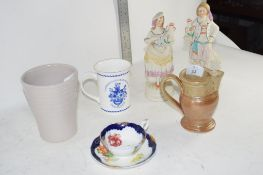 CERAMIC WARES INCLUDING TWO CHINA FIGURES, SMALL POTTERY JUG ETC