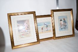 GROUP OF PICTURES IN GILT FRAMES