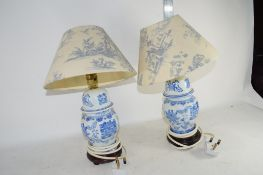 PAIR OF CERAMIC TABLE LAMPS WITH CHINESE VASES AND COVERS, CONVERTED FOR ELECTRICITY