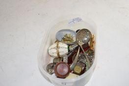 SMALL BOX CONTAINING QUANTITY OF METAL ITEMS INCLUDING A PAPERWEIGHT OF CHESTER CASTLE, TWO PLATED