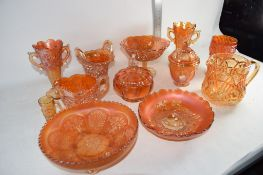 CARNIVAL GLASS WITH VARIOUS MOULDED DESIGNS