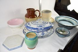 POTTERY WARES INCLUDING BLUE AND WHITE TUREEN AND COVER AND STAND, DOULTON LAMBETH STYLE POTTERY JUG