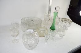 GLASS WARES, DECANTER, FRUIT BOWL ETC