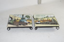 CERAMIC TILES DECORATED WITH OLD STYLE STEAM ENGINES