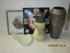 BOX CONTAINING METAL VASE AND OTHER ITEMS