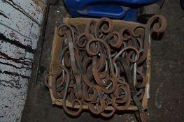 Box of metal scrolls