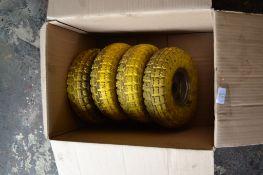 Four wheels, solid rubber, 27cm diam