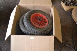 Box of pneumatic tyres - 7 tyres, diam 38cm