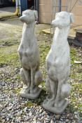 PAIR COMPOSITION FIGURES OF SEATED WHIPPETS H 75CM